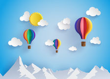 Colorful hot air balloon flyin over moutain Stock Photo