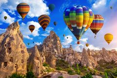 Free Colorful Hot Air Balloon Flying Over Cappadocia, Turkey. Royalty Free Stock Image - 166868516