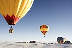 Colorful hot air balloon flying on sky. travel and air transport stock photos