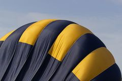 Colorful hot air balloon flying on sky. travel and air transportation concept.  royalty free stock photo