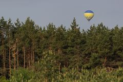 Colorful hot air balloon flying on sky. travel and air transportation concept.  royalty free stock photos