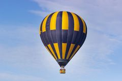 Colorful hot air balloon flying on sky. travel and air transportation concept.  stock photo