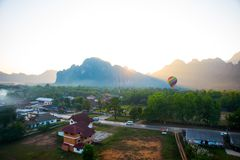 Colorful  hot air balloon in the sky.Laos. Royalty Free Stock Image