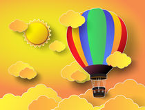Colorful  hot air balloon with sunset. Vector illustration  colorful  hot air balloon with sunset Royalty Free Stock Photography