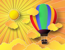 Colorful hot air balloon with sunset. Vector illustration colorful hot air balloon with sunset.paper cut style vector illustration
