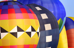 Colorful hot air balloons. Three colorful hot air balloons ready to fly Stock Photo