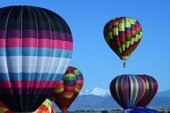 Colorful Hot Air Balloons. A beautiful group of hot air balloons prepares to launch Stock Photo