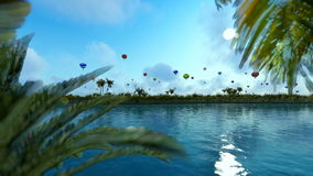 Colorful hot air balloons against blue sky, lake reflections, panning. Hd video stock video footage