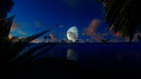 Colorful hot air balloons against full moon, lake reflections, panning. Hd video stock video