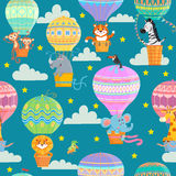Colorful hot air balloons and animals. stock illustration