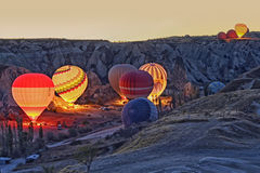 Colorful Hot Air Balloons Before Launch At Cappadocia Stock Photos