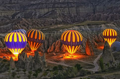 Colorful Hot Air Balloons Before Launch At Cappadocia Stock Images