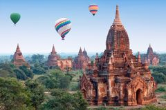 Colorful hot air balloons flying over Bagan, Myanmar