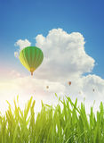 Colorful hot air balloons flying over green grass field in spring Royalty Free Stock Photos