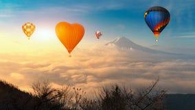 Colorful hot-air balloons flying over the mountain, Colorful hot air balloons flying over mount fuji at lake Kawaguchi,Yamanashi, stock images