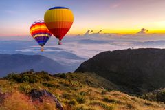 Colorful Hot-air Balloons Flying Over The Doi Luang Chiang Dao Royalty Free Stock Image
