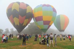 Colorful hot air balloons on a foggy day stock photo