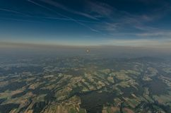 hot air balloons on the horizon Stock Images
