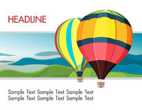 Colorful hot air balloons mountain background Royalty Free Stock Images