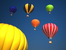 Colorful hot air balloons over blue sky , 3d illustration Royalty Free Stock Image