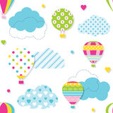 Colorful hot air balloons pattern. Illustration of colorful hot air balloons collection with blue patterned clouds, hearts and dots on white background Royalty Free Stock Photo