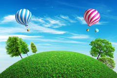 Colorful hot air balloons with a summer background Royalty Free Stock Photo