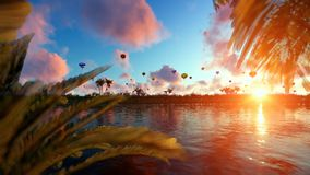 Colorful hot air balloons at sunset, lake reflections, panning stock video footage