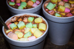 Colorful hot chocolate. My Grandchildren stayed at our house and we made Hot chocolate. So I put colored Marshmellows in the drink. I grabbed My camera and Royalty Free Stock Image