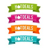 Colorful Hot Deals ribbons. Eps10 Vector. Colorful Hot Deals ribbons. Eps10 Vector illustration Royalty Free Stock Images