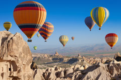 Colorful hot flying balloons in Cappadocia royalty free stock image