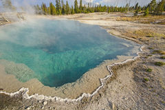 Colorful Hot Springs on a Summer Day. Abyss Pool in Yellowstone National Park in Wyoming Royalty Free Stock Image