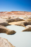 Colorful hot water ponds on the Andes, Bolivia. Colorful hot water ponds in geothermal region of the Andean Highlands of Bolivia. Salt lake, mountain range and Royalty Free Stock Photos