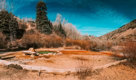 Colorful hot water pool in the Utah, USA royalty free stock image