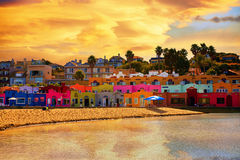 Colorful Hotels, landmark of Capitola Village. Capitola beach panorama view, magical sunset, Santa Cruz, California Stock Photography