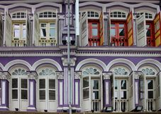 Colorful house facade. With many doors and windows Stock Photo