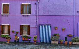 Colorful house facade in Burano, Italy Royalty Free Stock Photography