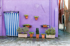 Colorful house facade in Burano, Italy Royalty Free Stock Images