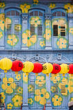 Colorful house facade in Chinatown, Singapore Stock Image
