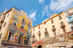 Colorful house facade with painting, Tarragona, Spain Royalty Free Stock Images