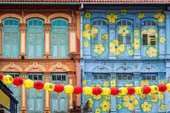 Colorful house facades in Chinatown, Singapore Royalty Free Stock Photo
