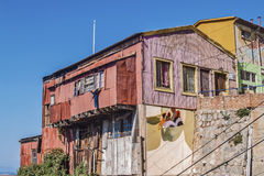 Colorful house with graffiti Stock Photo