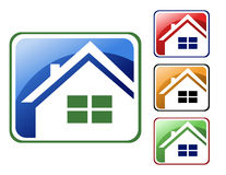 Colorful House Icons. Choose from 4 different square house icons types. (Blue, red, orange and green Royalty Free Stock Image