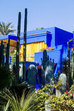 Colorful house in the Jardin Majorelle in Marrakesh Royalty Free Stock Image