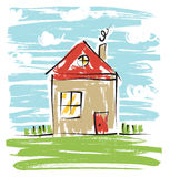 Colorful house, kids drawing. Rough lines sketchy drawing of house with grass and chimney royalty free illustration