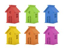 Colorful house miniatures isolated on white background stock photos