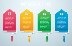 Colorful house with a paint roller Infographic 4 options background vector illustration.  stock illustration