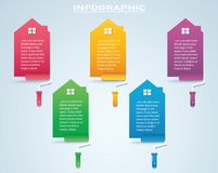Colorful house with a paint roller Infographic 4 options background vector illustration.  royalty free illustration