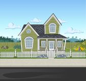 Colorful house in suburb neighborhood. Green park landscape with grass, trees, flowers and clouds Stock Image