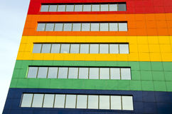 Colorful house wall with windows Royalty Free Stock Photo