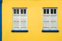 Colorful house and windows. Front of colonial house. Areia city, Paraiba, Brazil royalty free stock image